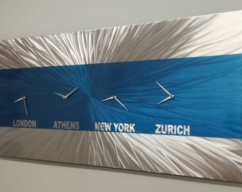 blue office decor. blue metal wall artlarge abstract clock office decor accent contemporary r