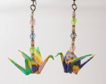 """""""Crane Pink - Purple - green"""" earrings"""