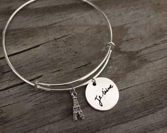 Eiffel Tower Bangle Bracelet - Je t'aime Bangle - French I Love You