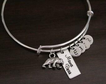Mama Bear Bangle - Mother Bracelet - Mother Gift - Mama Gift - Mama Bracelet - Initials - Bst/In