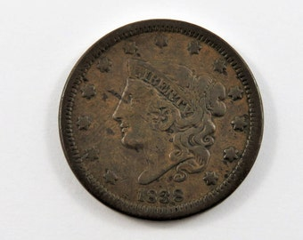 U.S. 1838 Coronet One Cent Coin.