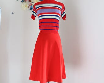 "1950s A-line Skirt - Midi - Red - Full Flare Skirt - Rockabilly - Classic Vintage Dancing Skirt - Handmade - Extra Small/Small 25"" Waist"