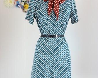 1970s Dress - Striped Shift Dress - Short Sleeve - Mad Men Vintage Dress - Wide Collar Shirt Dress - Chevron - Teal - Small Medium