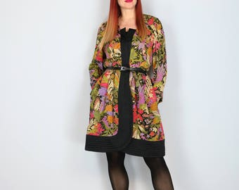 1980s Dress - Vintage Floral Coat Dress - Asian Inspired - Designer Stanley Platos Martin Ross - Silk Jacket Dress - Size Medium