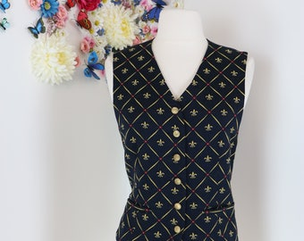 1980s Vest Waistcoat - Fleur De Lys Patterned - French - Vintage - Black Gold Red - Size Medium