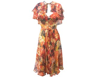 Floral chiffon dress   Etsy