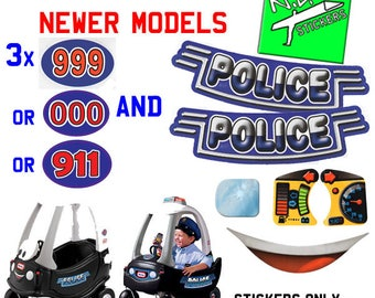 Replacement stickers decals transfers for Little Tikes Police Car - choose the ones you need.