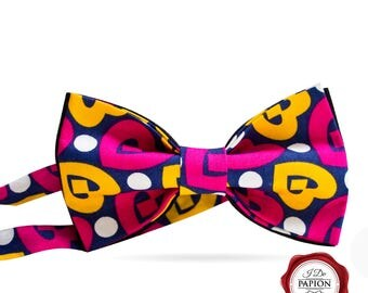 Bow tie / bowtie/ heart bow tie / colorful bow tie / red and yellow bow tie / gift for him / gift for her