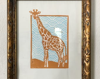 Giraffe block print