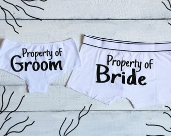 Property Of Bride, Property Of Groom, Wedding Underwear, Groom boxers, Bride Panties, Wedding Lingerie, Groom Underwear, Bride Underwear