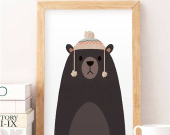 Cute bear illustration, Whimsical animal art, Nursery wall art, Kids room art, Bear art print, Cute wall decor, Animals illustration