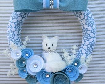 Sisal Fox Wreath, Winter Wreath, White Fox Wreath, Snowflake Wreath, Felt Flower Wreath, Blue Winter Wreath, Winter Fox Wreath