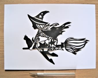 Halloween Witch - Papercutting Template, Personal Use