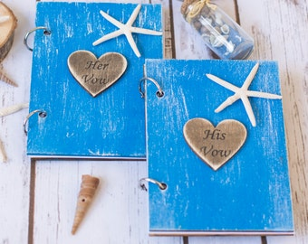 Vow Books Wedding Wooden Vow Books Her Vows His Vows Starfish Guest Book Wooden Wedding Nautical