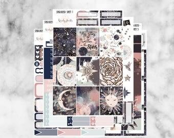 W152 Stargazer ECLP VERTICAL Weekly Kit, Planner Stickers, Erin Condren, Sticker Kit, Celestial Kit, Star Stickers, Sky, Magical. Horoscope