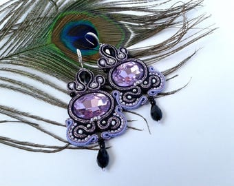 Soutache Earrings Lilac, black colors- Soutache earrings - Handmade Earrings.