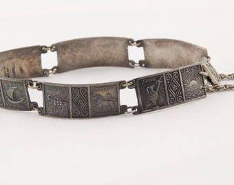 Rare Vintage Handmade designer Ethnic Sterling silver storyteller relief panel bracelet Israel
