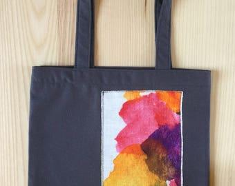 Cotton shopping bag. Linen applique. Digital watercolor