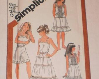 "UNCUT, Vintage Camisole Slip Pattern Simplicity #5804, Size 7 Girls' Camisole, Slip, Half-Slip 2 Lengths, Culotte, Chest 66cm (26""), Tucks"