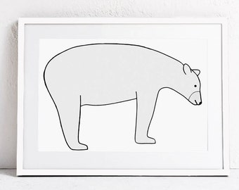 Bear Art, Nursery Wall Art, Modern Nursery Print, Nursery Animal Art Print Digital Download Art, Nursery Printable Wall Art, Animal Print