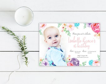 Printable Custom Birthday Party Invitation | Garden Party | Floral | Photo | Flowers