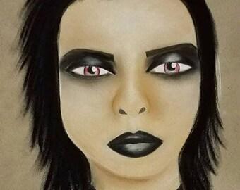 Dark Girl Art, Dark Drawing, Dark Art, Horror Art, Horror Drawing, Chalk Pastel Drawing, Original Drawing