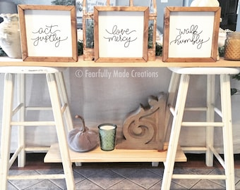SET OF 3 act justly, love mercy, walk humbly farmhouse style signs, encouragement, housewarming gift, graduation gift, inspirational gift