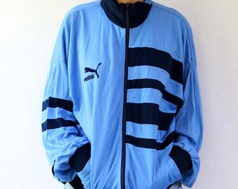 PUMA jacket, vintage 80's PUMA Warm Up Jacket, track sport jacket menswear, PUMA hipster athletic jacket, Puma Trainer Jacket size L