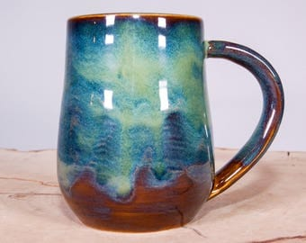 Forest Green Handmade Coffee Pottery Mug, Large Handmade mug