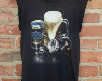 Vintage Harley Davidson Beer Muscle Tee 1984 Small