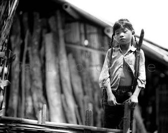 Black and White Fine Art Photography Print, Vietnamese Village Girl, Vietnam Photography, Asian Girl, Travel Photography, Vietnam Art Print