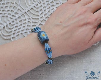 blue bead bracelet flower jewelry embroidery jewelry summer jewelry gift for women daisy bracelet gift for girl hand embroidery gift for her