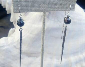 Black Tahitian Pearl and Silver Kapa Spike Earrings