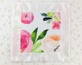 Bright Floral Lovie / Lovey, Personalized Satin Floral Baby Lovey, Floral Blanket,Lovey Blanket, Flowers Lovie Blanket, Security Blanket
