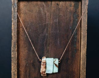 Chrysoprase Necklace • Rose Gold Necklace • Raw Gemstone • Chalcedony Necklace • Boho Chic • Gifts For Her • Nature Lover • Gypsy Jewel