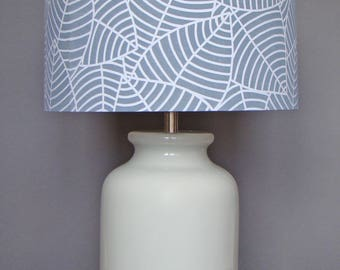 Ceiling/Pendant Fabric Drum Lampshade, Hand Printed on Organic Cotton, Jungle Leaf Lampshade (Stone Grey)