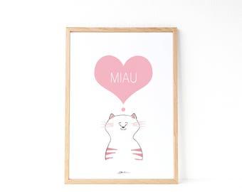 Love cat print | Wall Decor Kids | Cute Kids Illustration | Little cute cat| Pink nursery | Funny cat illustration | Gift Idea cats lovers