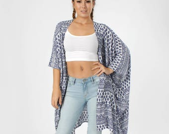 Boho Clothing, Boho Kimono, Coverup, Blue White Kimono, Swimsuit Cover up, Kimono Coverup, Oversized Cover up, Tribal, Beach Cover up