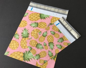 100 6x9 and 10x13 PINEAPPLES Poly Mailers 50 each Self Sealing Envelopes Shipping Bags