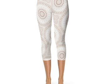 Capri Yoga Leggings, Boho Leggings, Soft Neutral Yoga Pants, Bohemian Mandala Activewear