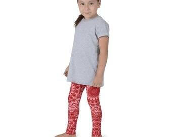 Kids Leggings, Cute Red Leggings for Girls, Children's Printed Yoga Pants, Mandala Design