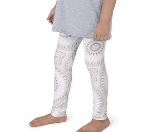 Girls Boho Clothes, White and Beige Mandala Yoga Leggings for Kids, Children's Yoga Pants