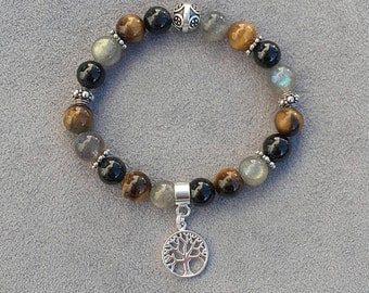 """Bracelet """"protection"""" and """"anchor"""" composed of grade A Labradorite, Tiger eye and black Tourmaline, 925 sterling silver findings"""