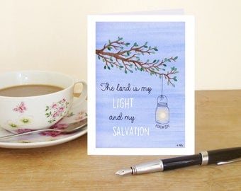 """A6 Greetings Card """"The Lord is my Light and my Salvation"""" - Psalm 27:1 (Christian Bible verse)"""
