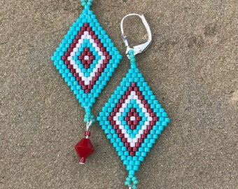 Turquoise Colored Seed Bead Earrings