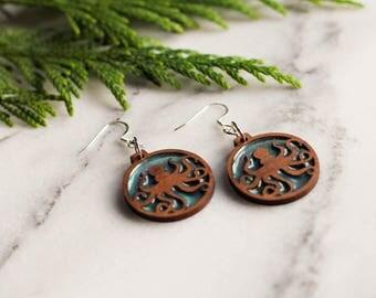 Octopus Earrings, Octopus Jewelry, Octopus Gift, Wood Resin Earrings, Ocean Earrings, Turquoise Earrings, Beach Earrings, Beach Jewelry