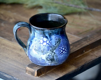 Wildlife mug Moose and with blue graphic patchwork