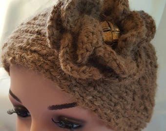 Alpaca headband with flower and vintage button