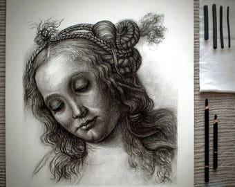 after Andrea del Verrocchio - Head of a Woman, handmade reproducion drawing, 15th century renaissance art
