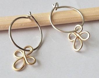 Small Hoop Earrings, Sterling Silver And Gold Filled Hoop Earrings, Thin Hoop Earrings, Silver Hoop Earrings, Minimalist Earrings.